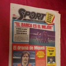 Coleccionismo deportivo: SPORT. Nº 457. 24 FEBRERO 1981. EL BARÇA ES EL MEJOR. EL DRAMA DE MIGUELI.. Lote 96112631
