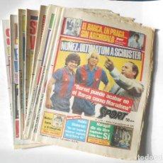 Coleccionismo deportivo: F.C. BARCELONA - 9 DIARIOS SPORT CON PORTADAS DE SCHUSTER - AÑO 1985 - FOTOS DE TODOS - . Lote 98075559