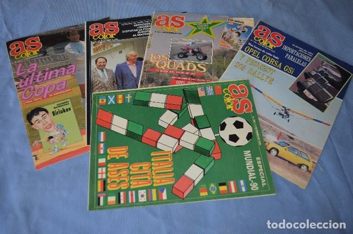 LOTE 5 REVISTAS - AS COLOR - AÑOS 80 / 90 - NÚM 160, 209, 251, 254 Y 273 - ESTÁN COMPLETOS - ¡MIRA! (Coleccionismo Deportivo - Revistas y Periódicos - As)