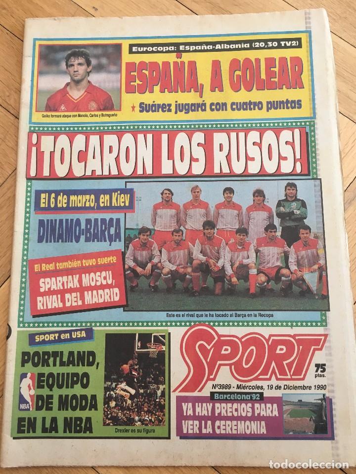 PERIODICO SPORT 1990 BARCELONA SPARTAK MOSCOW RECOPA EUROPA (Coleccionismo Deportivo - Revistas y Periódicos - Sport)