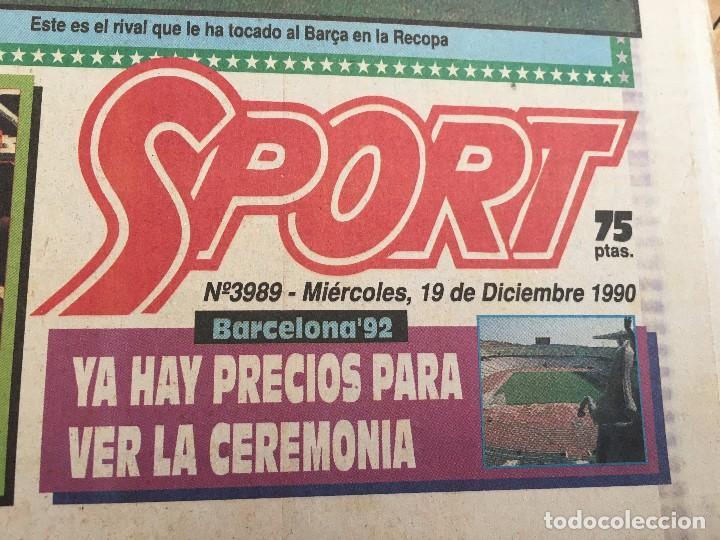 Coleccionismo deportivo: PERIODICO SPORT 1990 BARCELONA SPARTAK MOSCOW RECOPA EUROPA - Foto 2 - 99942235
