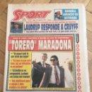 Coleccionismo deportivo: PERIODICO SPORT 1992 DIEGO ARMANDO MARADONA LLEGO A SEVILLA FICHAJE. Lote 99943395