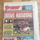 Coleccionismo deportivo: PERIODICO SPORT 1992 PRIMER PARTIDO DIEGO ARMANDO MARADONA SEVILLA 3-1 BAYERN MUNICH. Lote 99943503