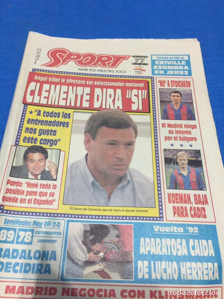 SPORT-4484-9/05/1992. PREVIA FINAL COPA EUROPA.BARCELONA-SAMPDORIA (Coleccionismo Deportivo - Revistas y Periódicos - Sport)