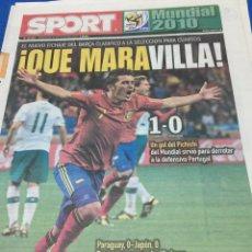 Coleccionismo deportivo: SPORT-30/06/2010.ESPAÑA,1-PORTUGAL,0. OCTAVOS FINAL MUNDIAL 2010. Lote 100977655