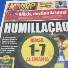 Coleccionismo deportivo: MUNDO DEPORTIVO-9/7/2014.BRASIL 2014. BRASIL,1-ALEMANIA,7. Lote 101015170