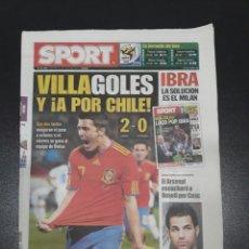 Coleccionismo deportivo: SPORT - 22/6/2010. N° 11.046. ESPAÑA 2 - HONDURAS 0. MUNDIAL 2010.. Lote 101268760