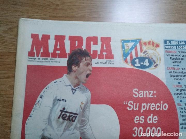Coleccionismo deportivo: DIARIO MARCA 19 ENERO 1997 PORTADA RAUL DE FRENTE 1-4 ATLETCO - REAL MADRID - CARLOS SAINZ - Foto 2 - 103155307