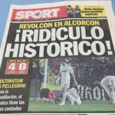 Coleccionismo deportivo: SPORT.28/10/2008. COPA. ALCORCÓN,4-R.MADRID,0. Lote 103785650