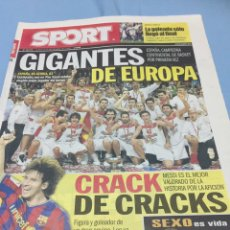 Coleccionismo deportivo: SPORT.21/9/2009. CAMPEONES DE EUROPA DE BALONCESTO. Lote 103785824