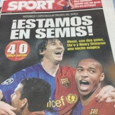 Coleccionismo deportivo: SPORT.9/4/2009. BARCELONA,4- BAYERN,0. Lote 103787988