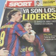Coleccionismo deportivo: SPORT.30/9/2009. CHAMPIONS.BARCELONA,2-DINAMO KIEV,0. Lote 103802472