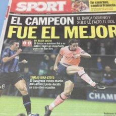 Coleccionismo deportivo: SPORT.17/9/2009. CHAMPIONS.INTER,0-BARCELONA,0. Lote 103802524