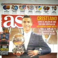 Coleccionismo deportivo: PERIÓDICO AS CRISTIANO RONALDO CUARTO BALÓN DE ORO. Lote 103804736