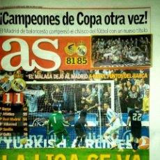 Coleccionismo deportivo: PERIÓDICO AS REAL MADRID CAMPEÓN COPA DEL REY 2016 BALONCESTO. Lote 103805163