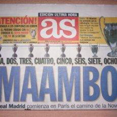 Collectionnisme sportif: PERIODICO AS NUEVO REAL MADRID CAMPEON UEFA CHAMPIONS LEAGUE TEMPORADA 1999 2000 99 00. Lote 103981307