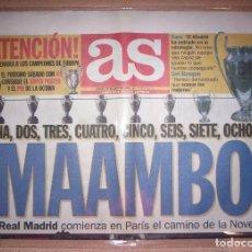 Coleccionismo deportivo: PERIODICO AS NUEVO REAL MADRID CAMPEON UEFA CHAMPIONS LEAGUE TEMPORADA 1999 2000 99 00. Lote 103983015