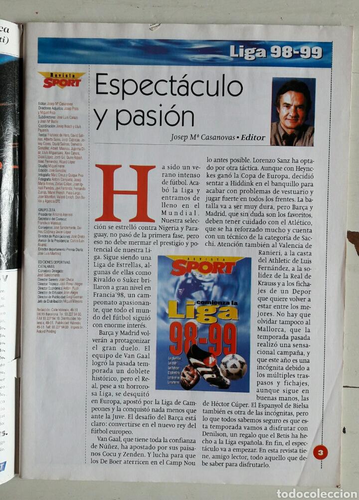 Coleccionismo deportivo: Revista Sport 98 99 - Foto 2 - 104354220