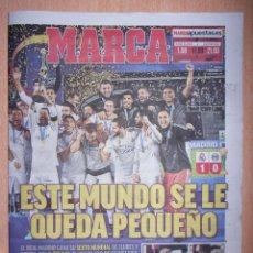 Coleccionismo deportivo: PERIODICO MARCA NUEVO REAL MADRID CAMPEON MUNDIAL DE CLUBES TEMPORADA 2017 2018 17 18. Lote 106664932