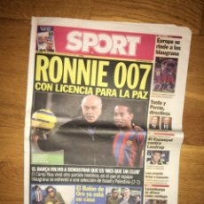 Coleccionismo deportivo: SPORT 30 NOVIEMBRE 2005 FC BARCELONA BARÇA RONALDINHO SEAN CONNERY. Lote 107178495