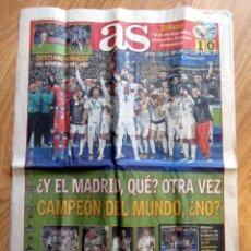 Coleccionismo deportivo: DIARIO AS REAL MADRID CAMPEON MUNDIALITO COPA MUNDIAL DE CLUBES FIFA INTERCONTINENTAL 2017 CRISTIANO. Lote 107430107