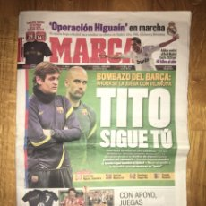 Coleccionismo deportivo: MARCA 28 ABRIL 2012 TITO SIGUE TU VILANOVA GUARDIOLA BARÇA FC BARCELONA. Lote 107468788