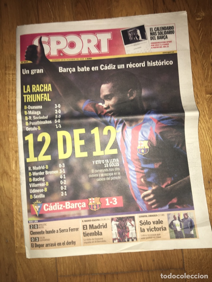 SPORT 18 DICIEMBRE 2005 BARÇA ETO'O FC BARCELONA (Coleccionismo Deportivo - Revistas y Periódicos - Sport)