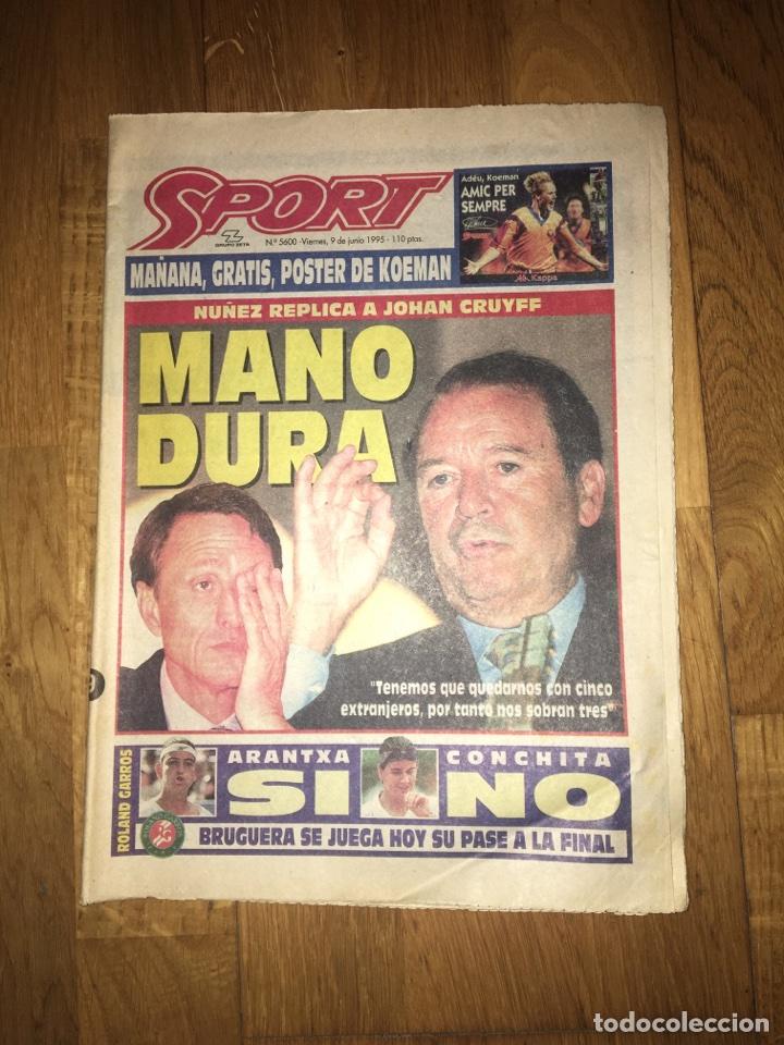 SPORT 9 JUNIO 1995 CRUYFF JOHAN NÚÑEZ KOEMAN (Coleccionismo Deportivo - Revistas y Periódicos - Sport)