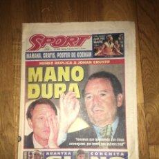 Coleccionismo deportivo: SPORT 9 JUNIO 1995 CRUYFF JOHAN NÚÑEZ KOEMAN. Lote 107468984