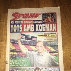 Coleccionismo deportivo: SPORT 10 JUNIO 1995 KOEMAN DESPEDIDA BARÇA FC BARCELONA. Lote 107468999