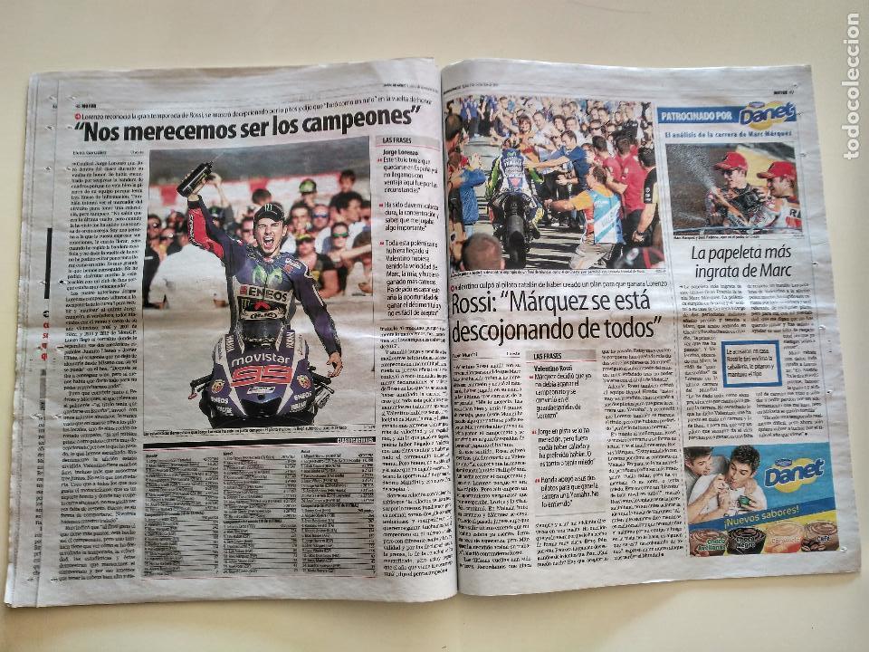 Coleccionismo deportivo: JORGE LORENZO CAMPEÓN DEL MUNDO DE MOTO GP MUNDO DEPORTIVO 9 NOVIEMBRE 2015 - Foto 3 - 107724831