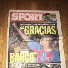 Coleccionismo deportivo: SPORT 13 AGOSTO 2004 BARÇA FC BARCELONA FICHAJE ETO'O. Lote 107849059
