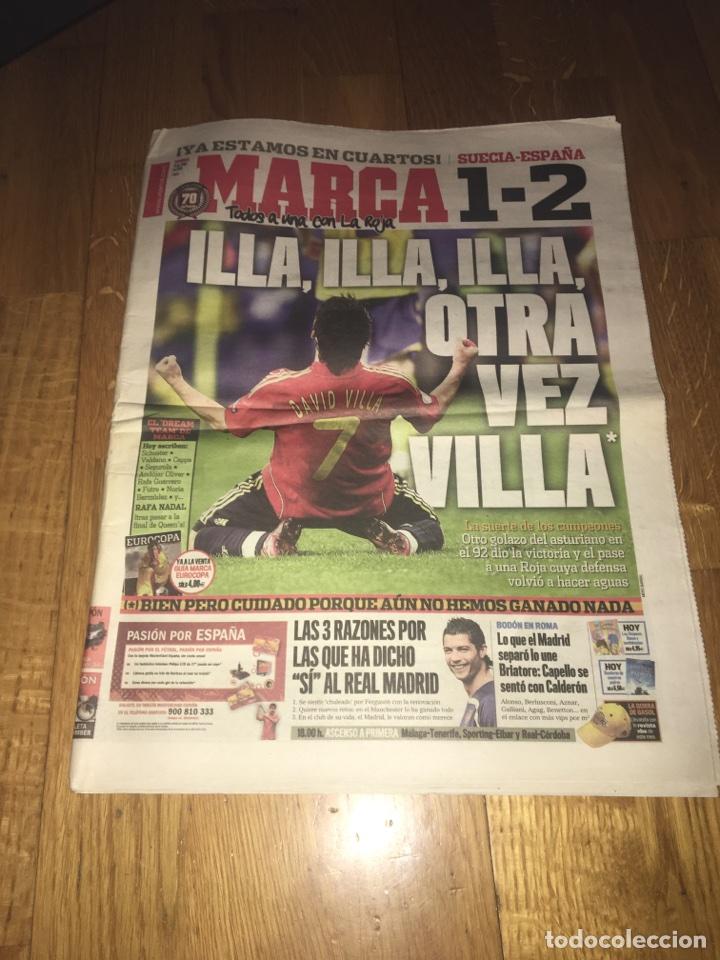 MARCA 15 JUNIO 2008 SUECIA 1 ESPAÑA 2 EUROCOPA SELECCIÓN ESPAÑOLA DAVID VILLA (Coleccionismo Deportivo - Revistas y Periódicos - Marca)