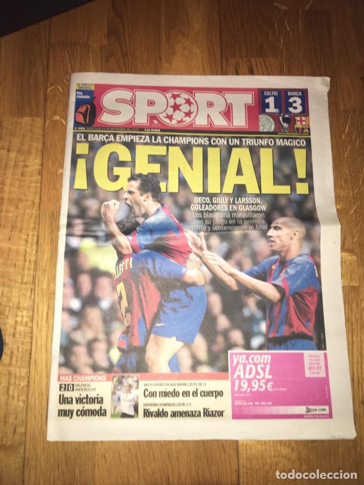 SPORT 15 SEPTIEMBRE 2004 FC BARCELONA 3 CELTIC 1 BARÇA CHAMPIONS LEAGUE (Coleccionismo Deportivo - Revistas y Periódicos - Sport)