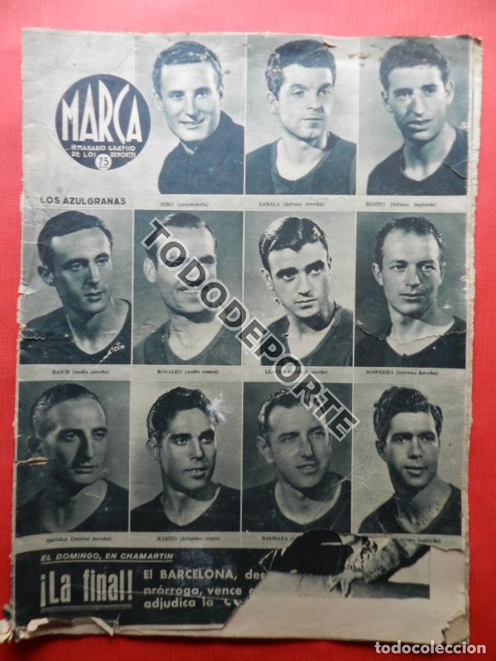 Coleccionismo deportivo: SEMANARIO MARCA FC BARCELONA CAMPEON COPA DEL GENERALISIMO 1942 - ATHLETIC CLUB BILBAO BARÇA 42 - Foto 2 - 108011923