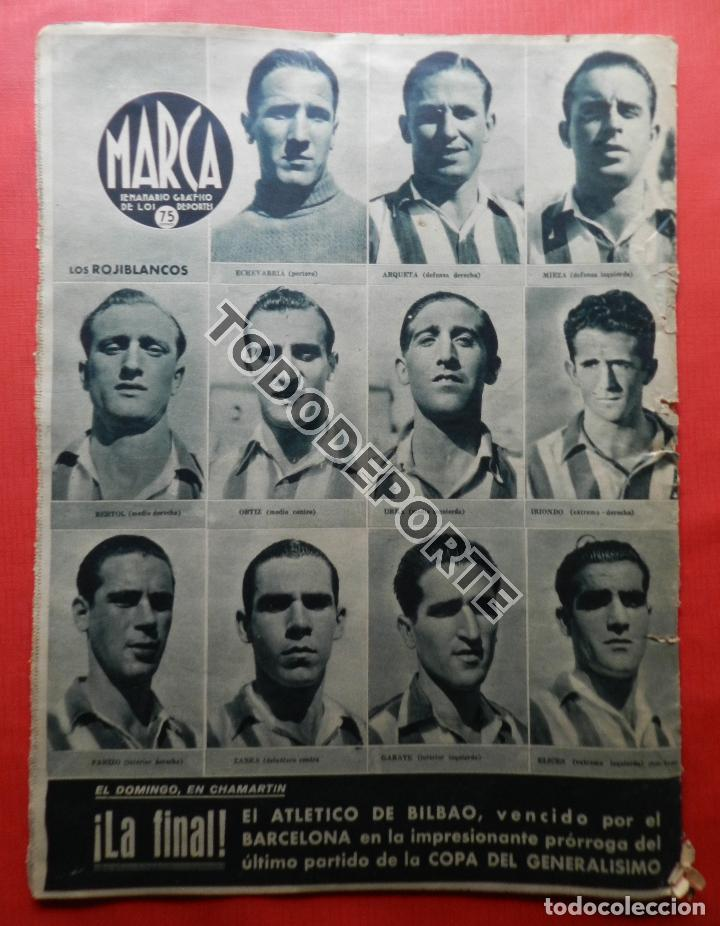 Coleccionismo deportivo: SEMANARIO MARCA FC BARCELONA CAMPEON COPA DEL GENERALISIMO 1942 - ATHLETIC CLUB BILBAO BARÇA 42 - Foto 3 - 108011923