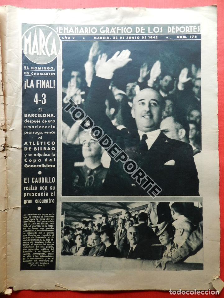 Coleccionismo deportivo: SEMANARIO MARCA FC BARCELONA CAMPEON COPA DEL GENERALISIMO 1942 - ATHLETIC CLUB BILBAO BARÇA 42 - Foto 4 - 108011923