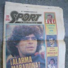 Coleccionismo deportivo: PERIODICO DEPORTIVO SPORT 18-1-1983 - ALARMA MARADONA - QUINI ESPORTING - MARAÑON PERICO. Lote 110085839