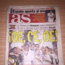 Coleccionismo deportivo: DIARIO AS 31 AGOSTO 2002 REAL MADRID SÚPERCOPA DE EUROPA. Lote 110124795