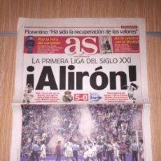 Coleccionismo deportivo: DIARIO AS 27 MAYO DEL 2001 REAL MADRID CAMPEÓN DE LIGA. Lote 110126639