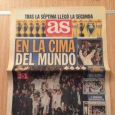 Coleccionismo deportivo: DIARIO AS 2 DICIEMBRE DE 1998 REAL MADRID CAMPEÓN INTERCONTINENTAL. Lote 110129147