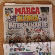 Coleccionismo deportivo: PERIÓDICO DEPORTIVO MARCA. 29 DE MAYO DE 2016. 11 COPAS DE EUROPA. GLORIA INTERMINABLE. REAL MADRID. Lote 110295119