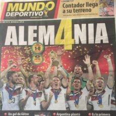 Coleccionismo deportivo: MUNDO DEPORTIVO 14/7/2014. FINAL MUNDIAL . ALEMANIA,1-ARGENTINA,0. Lote 110888006