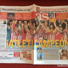 Coleccionismo deportivo: AS (13-5-2010) ATLETICO MADRID 2-1 FULHAM FINAL EUROPA LEAGUE CAMPEON ATLETICO MADRID. Lote 110951895