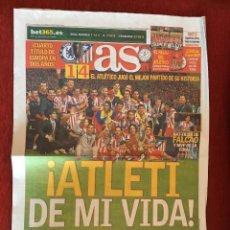 Coleccionismo deportivo: AS (1-9-2012) ATLETICO MADRID 4-1 CHELSEA CAMPEON ATLETICO MADRID SUPERCOPA DE EUROPA . Lote 110952347