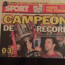 Coleccionismo deportivo: SPORT 26/5/2012. FINAL COPA. ATHLETIC,0- BARCELONA,3. Lote 111466922