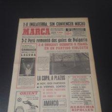 Coleccionismo deportivo: MARCA. 3/06/1970. MEXICO 70. INGLATERRA,1 - RUMANIA,0. PROGRAMA DIARIO DEL MUNDIAL.. Lote 112536367