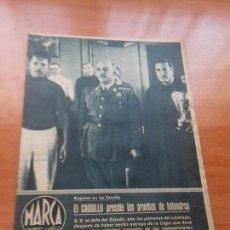 Coleccionismo deportivo: DIARIO MARCA. Nº37. 10-AGOSTO-1943. EL CAUDILLO PRESIDE LAS PRUEBAS DE BALANDROS.. Lote 113114067