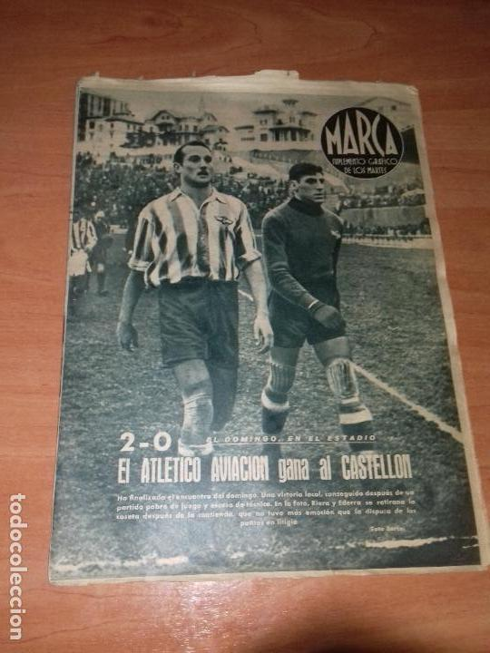 DIARIO MARCA. Nº56. 21-DICIEMBRE-1943. 2-0 EL ATLETICO AVIACION GANA AL CASTELLON. (Coleccionismo Deportivo - Revistas y Periódicos - Marca)