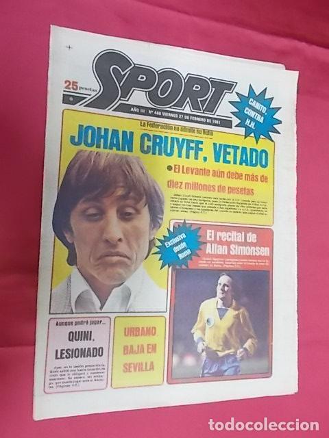 SPORT. Nº 460. 27 FEBRERO 1981. JOHAN CRUYFF, VETADO. QUINI, LESIONADO, DUDA ANTE EL HÉRCULES (Coleccionismo Deportivo - Revistas y Periódicos - Sport)